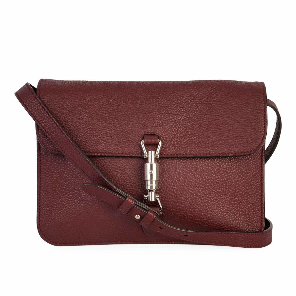 dba12d80cc78 GUCCI Pebbled Leather Jackie Flap Shoulder Bag Burgundy | Luxity