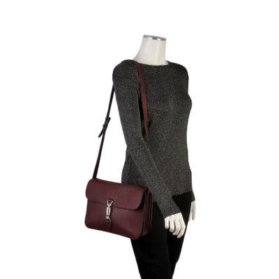 83295e48f32 GUCCI Pebbled Leather Jackie Flap Shoulder Bag Burgundy