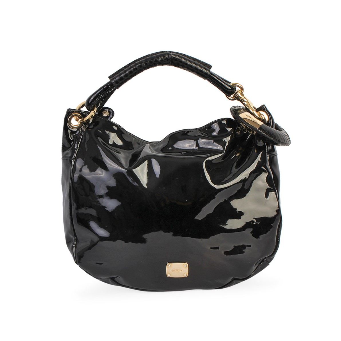 8a1c5efb76def JIMMY CHOO Patent Leather Sky Hobo Black | Luxity