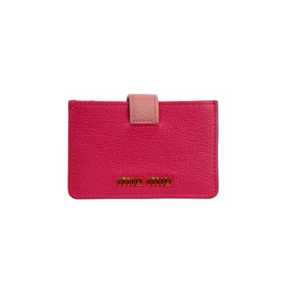 c8d7ece717f MIU MIU Leather Accordion Card Holder Pink