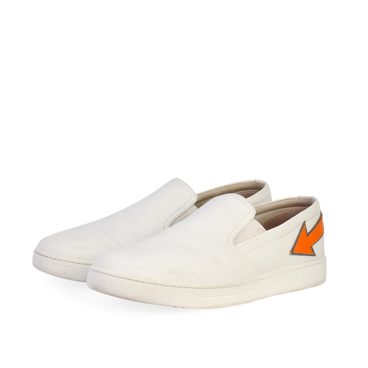 huge selection of 986f8 e7994 PRADA Leather Arrow Slip On Sneakers White - S: 43.5 (9.5)