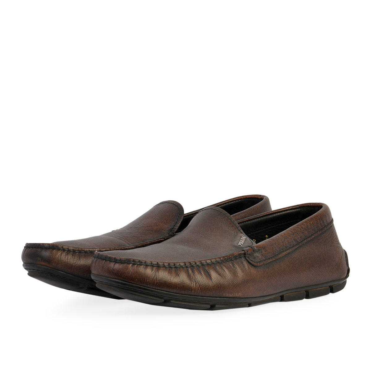 fa2758b0e5 PRADA Leather Men's Moccasins Driving Loafers Brown - S: 42 (8)