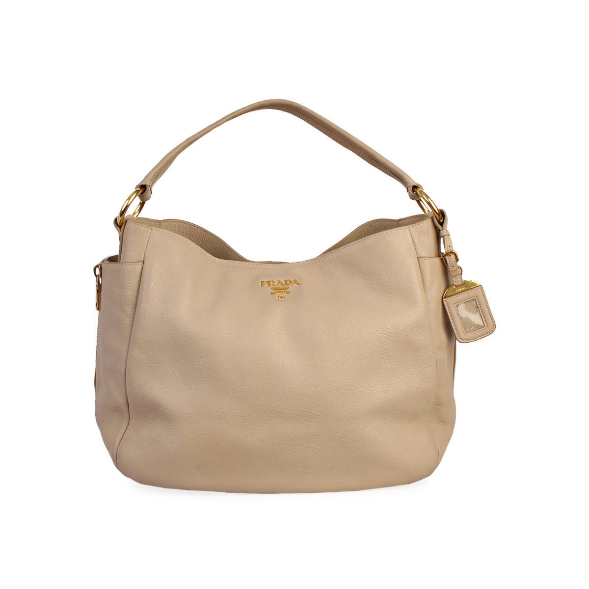 8d989911202b PRADA Leather Side Zip Pockets Hobo Nude | Luxity