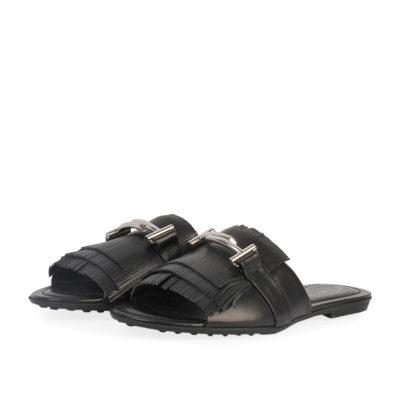 a800c26a7e TOD'S Leather Double T Fringe Sandals Black – S: 38.5 (5.5)