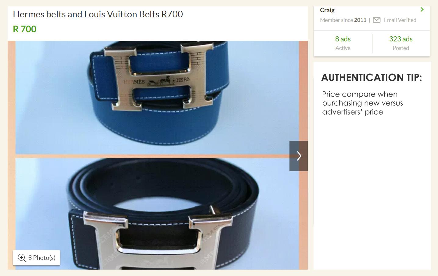 Fake Hermes belts
