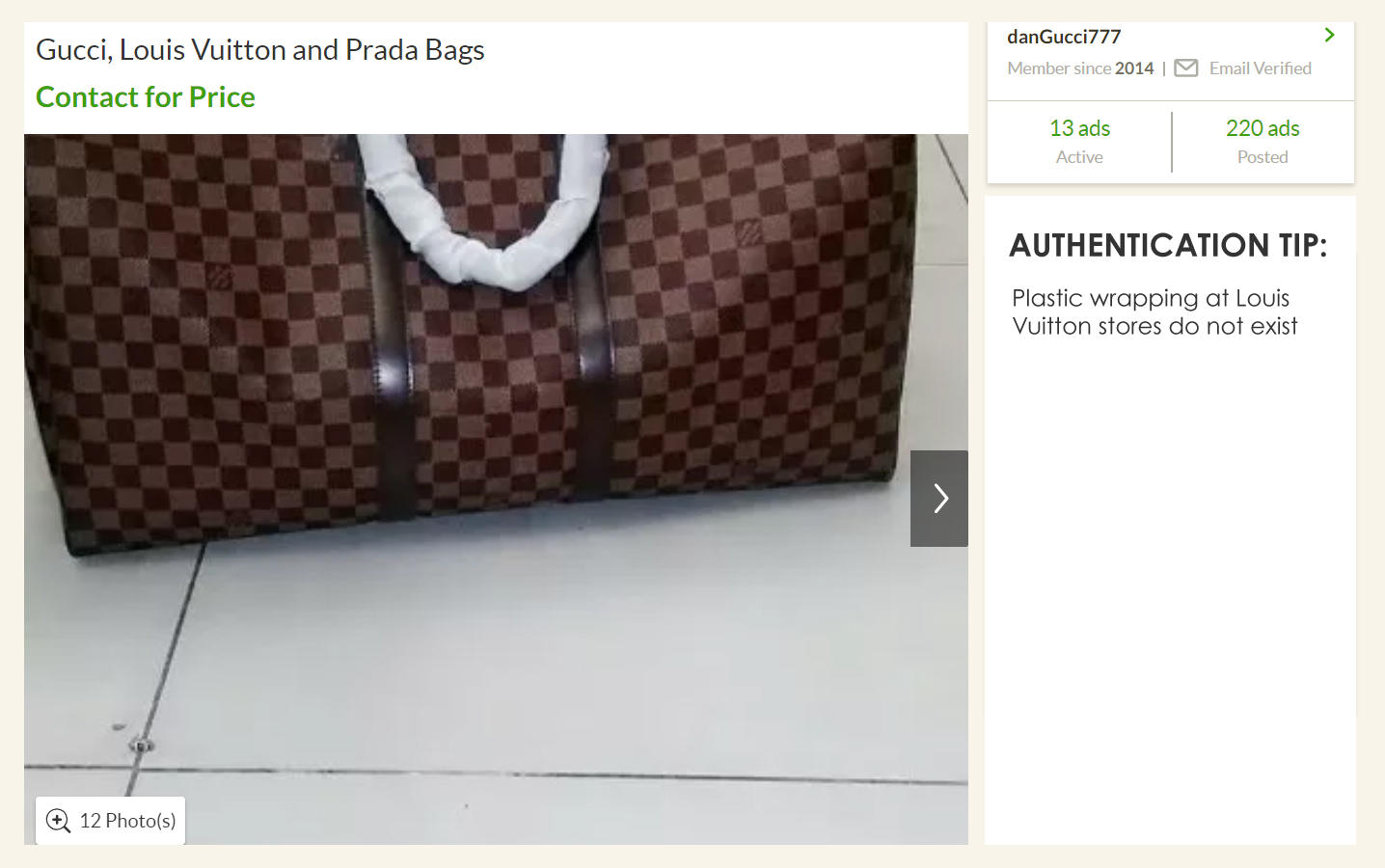 Fake Louis Vuitton with plastic wrapping