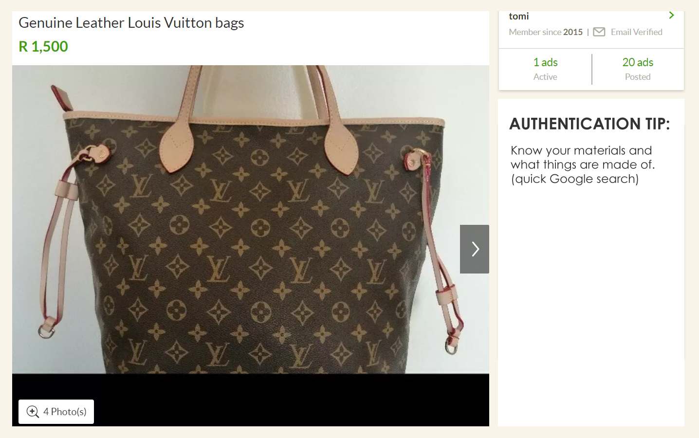 Louis Vuitton canvas bag