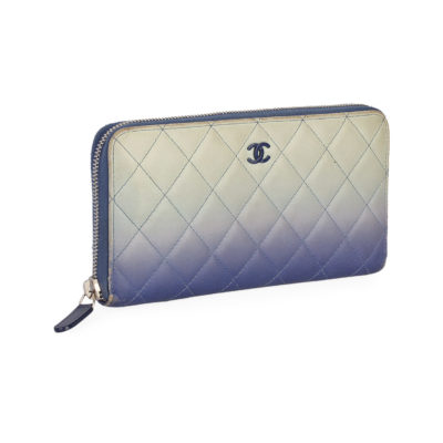 381d0ac89f02 CHANEL Quilted Calfskin Zip Around Wallet Ombre