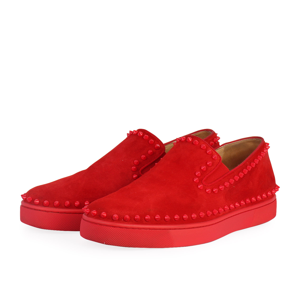watch 8c794 5853b CHRISTIAN LOUBOUTIN Velours Pik Boat Veau Spikes Sneakers Red - S: 43.5 (9)