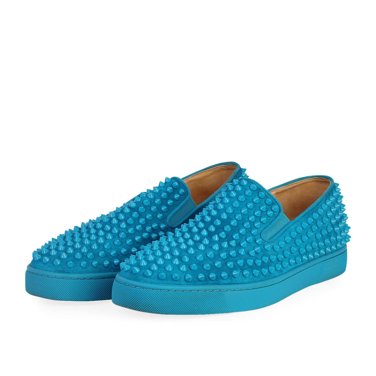 san francisco 81539 27a53 CHRISTIAN LOUBOUTIN Velours Roller Boat Veau Spikes Sneakers Egyptian Blue  - S: 43.5 (9)