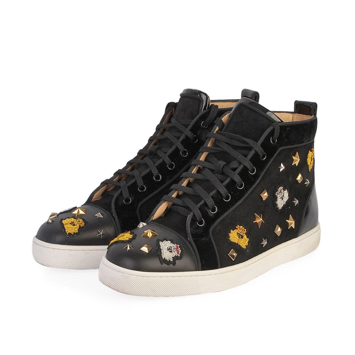san francisco 7c3d4 23b79 CHRISTIAN LOUBOUTIN Velvet/Leather Studded Crest High Top Sneakers Black -  S: 43.5 (9)