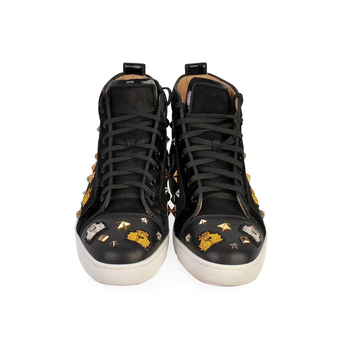 san francisco 48894 36459 CHRISTIAN LOUBOUTIN Velvet/Leather Studded Crest High Top Sneakers Black -  S: 43.5 (9)