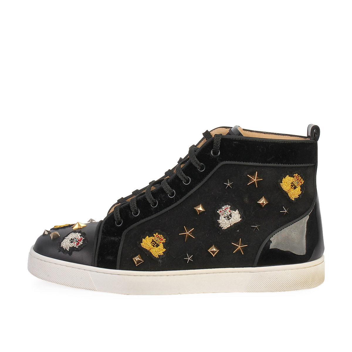 san francisco 3c904 e1e37 CHRISTIAN LOUBOUTIN Velvet/Leather Studded Crest High Top Sneakers Black -  S: 43.5 (9)