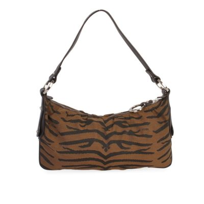 de474d567e4e FENDI Animal Print Jacquard Shoulder Bag Brown
