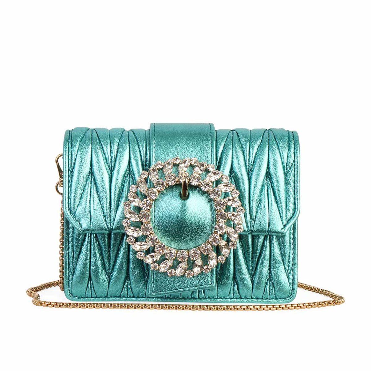 new style a9f7a f3f0d MIU MIU Matelasse Crystal Buckle Crossbody Bag Turquoise