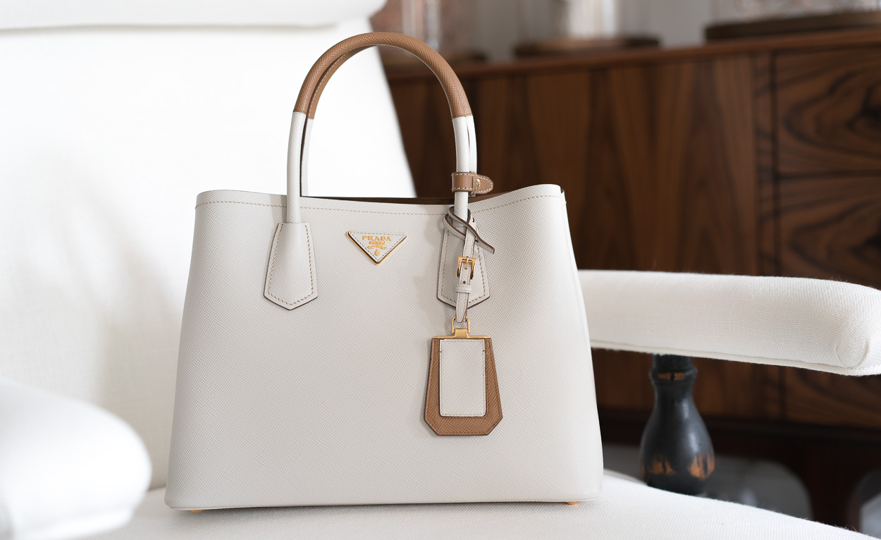 Double Prada Tote bag beige and white