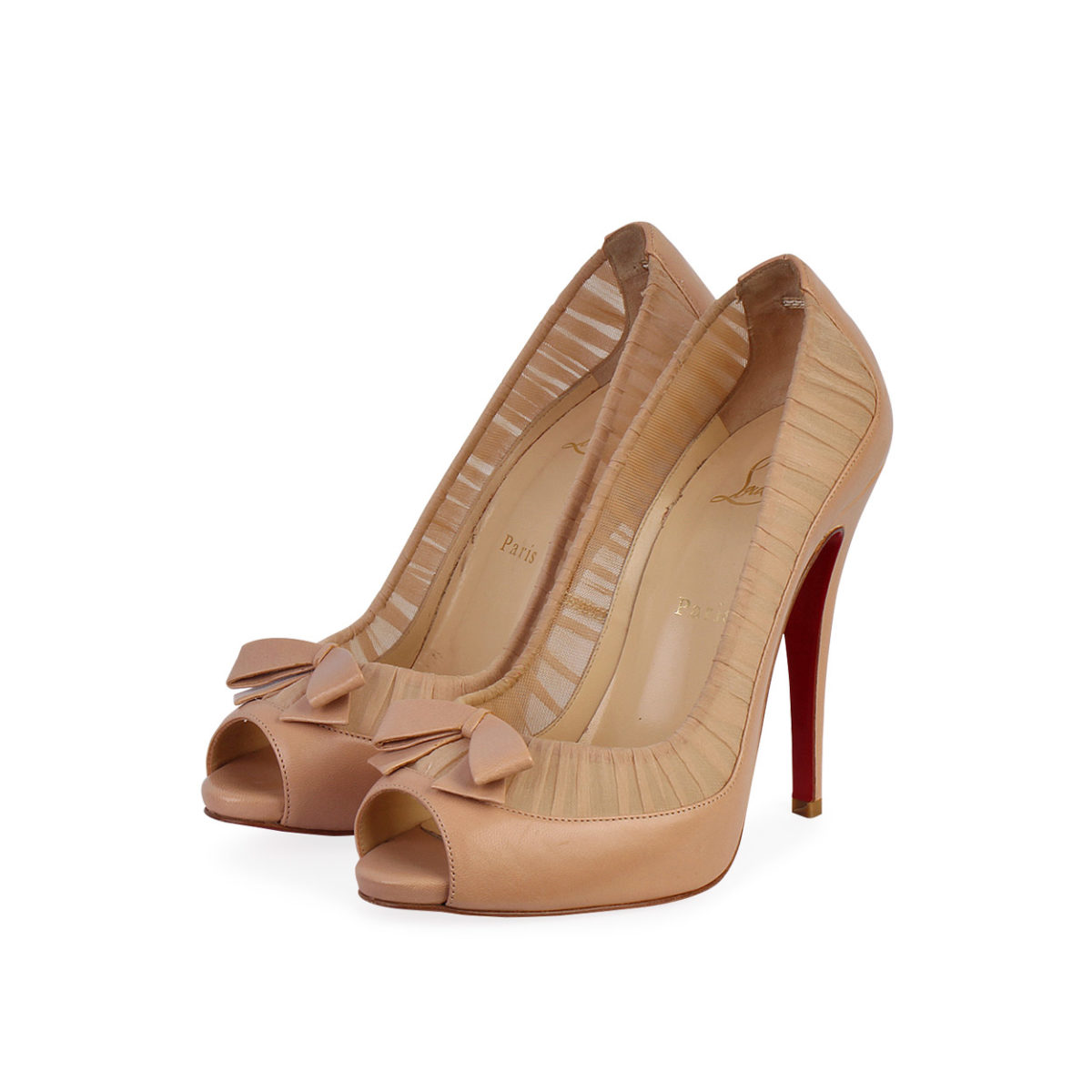 reputable site a9c9c 2aeb8 CHRISTIAN LOUBOUTIN Leather Chiffon Angelique Peep Toe Pumps Nude - S: 38  (5)