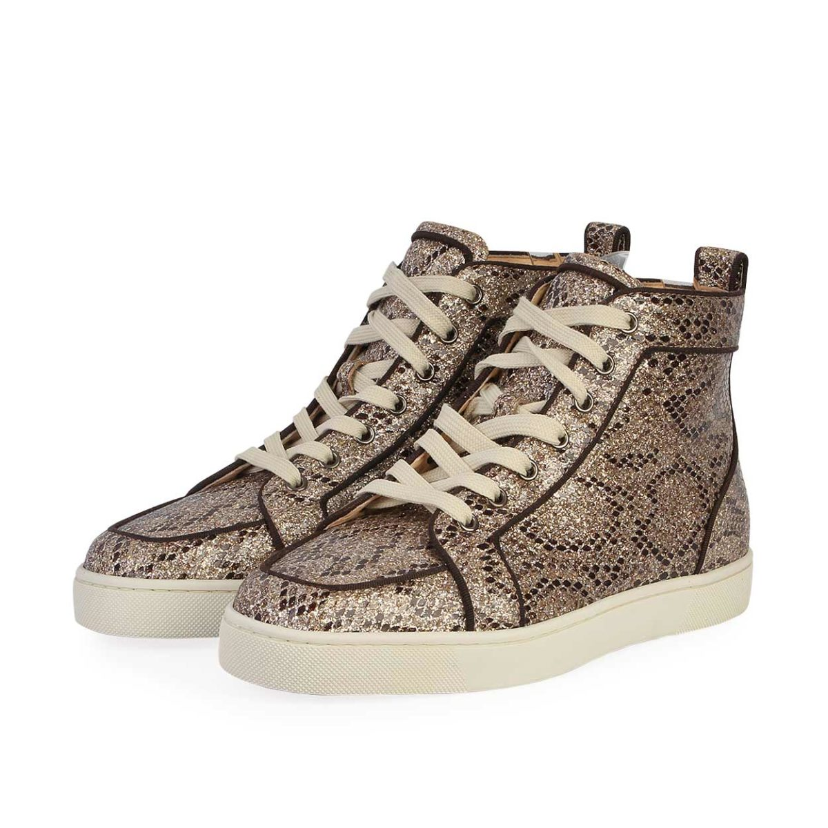 100% authentic caf58 1e617 CHRISTIAN LOUBOUTIN Python Rantus Orlato High Top Sneakers Gold - S: 40  (6.5)