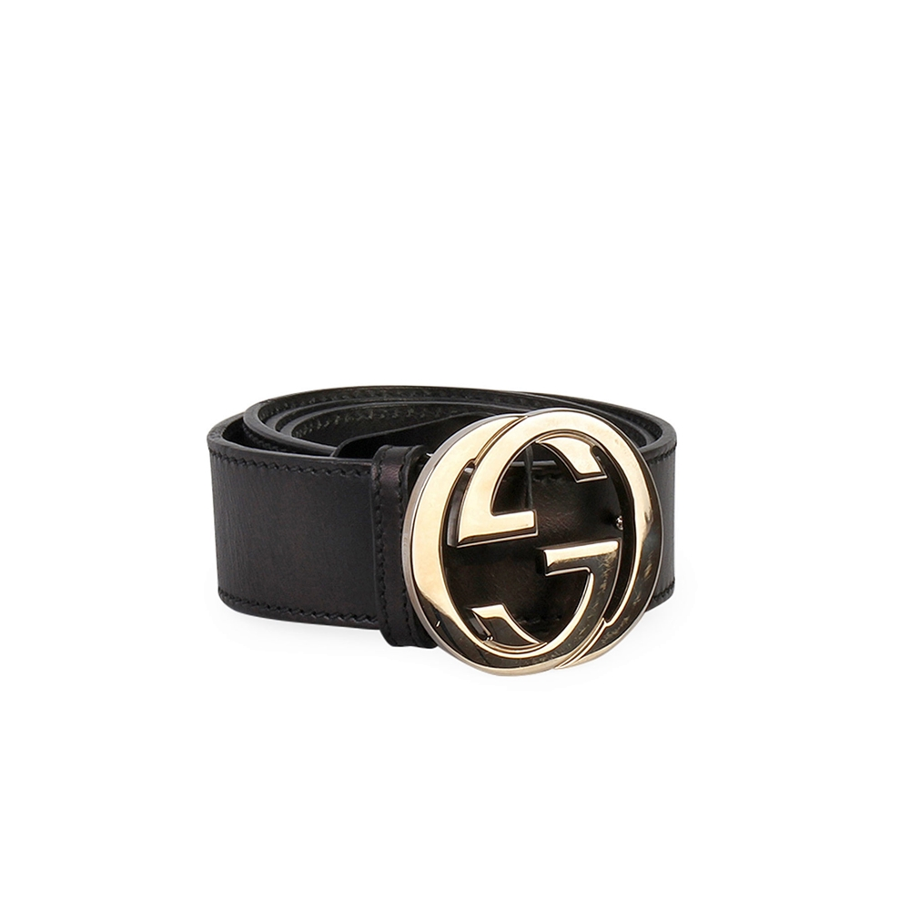 6b6406af0 GUCCI Leather Interlocking G Buckle Belt Black - S: 100 (40) | Luxity