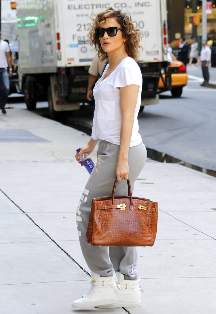 JLo with brown birkin