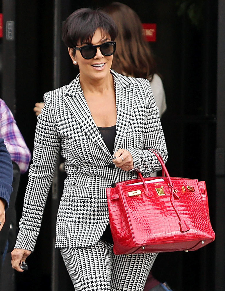 Kris Jenner with red birkin