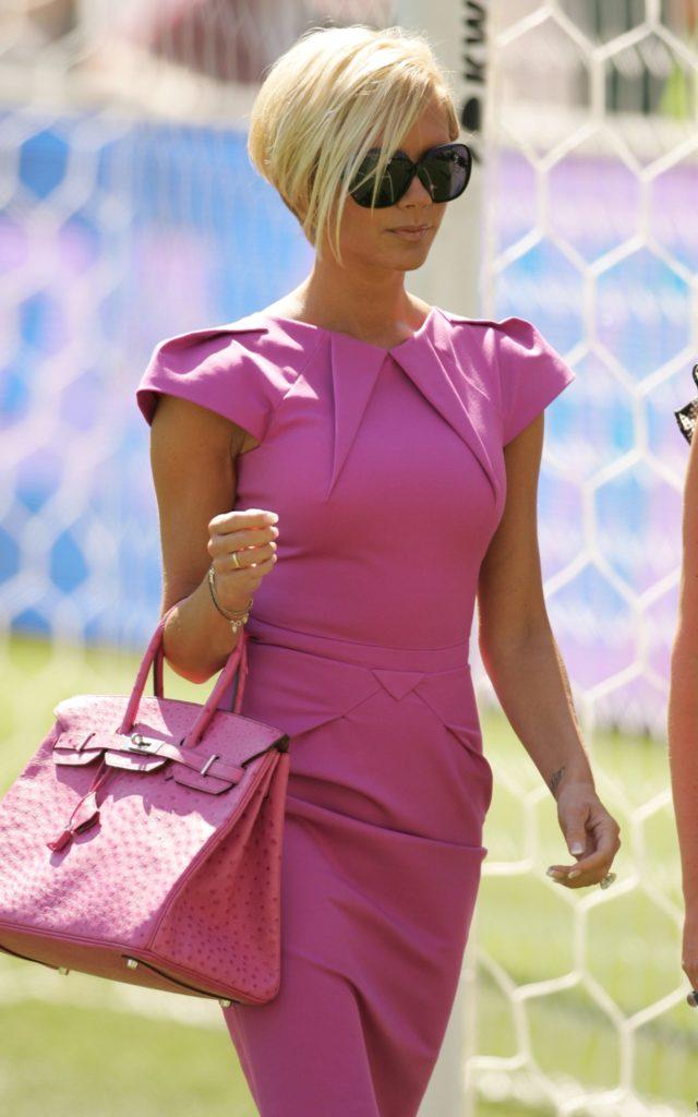 Victoria Beckham with pink Birkin