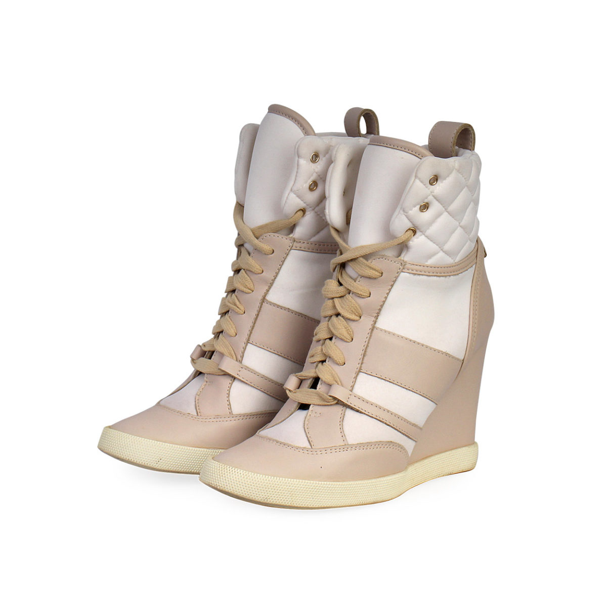 CHLOE Quilted Leather High Top Wedge