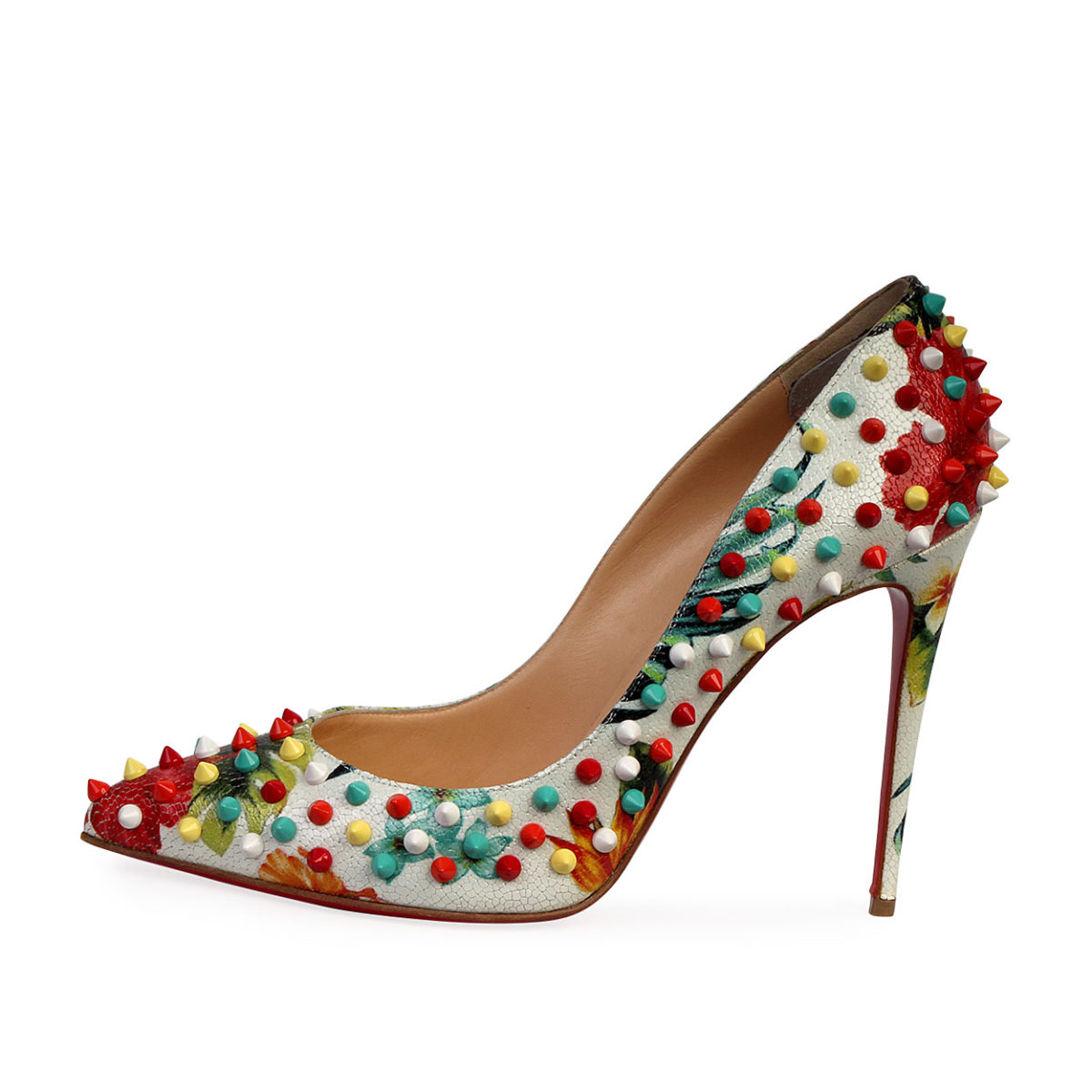 promo code a58d8 8e6ca CHRISTIAN LOUBOUTIN Crackled Hawaiian Follies Spikes 120 Pumps White/Multi  - S: 40 (6.5)