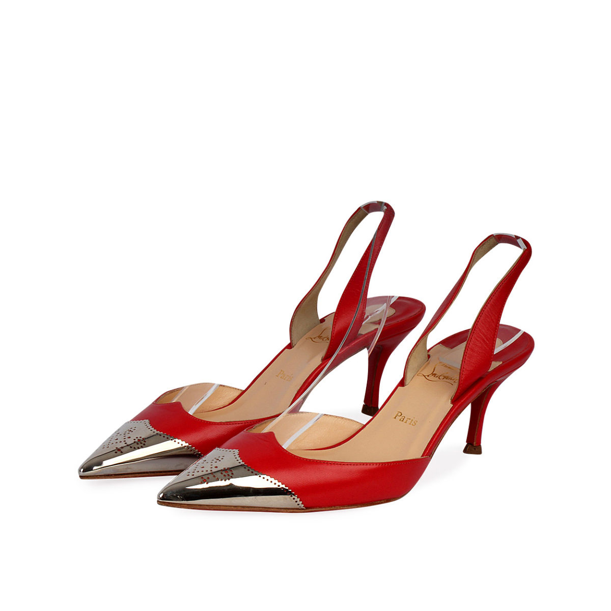 new concept ee0ee 8a778 CHRISTIAN LOUBOUTIN Leather Calamijane Metal Cap Toe Sandals Red - S: 35.5  (3)