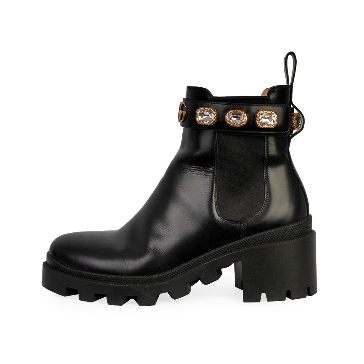 0b02daf5 GUCCI Leather Chelsea Crystals Ankle Boots Black - S: 37 (4)