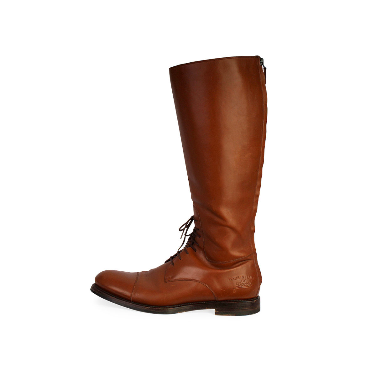 62be7a53a GUCCI Leather Lace Up Toe Cap Riding Boots Brown - S: 43 (9) | Luxity
