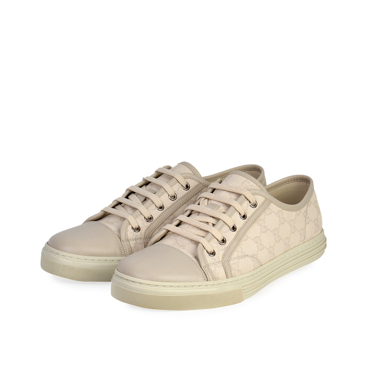GUCCI Leather Toe GG Canvas Low Top