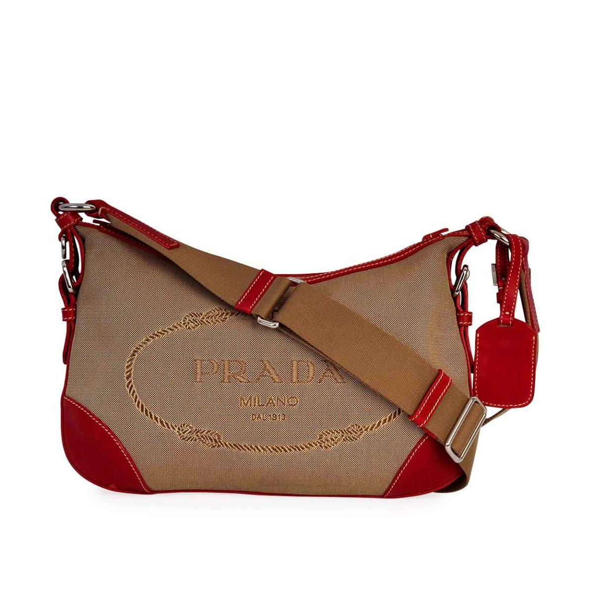46ca2605 PRADA Jacquard Logo Shoulder Bag Red