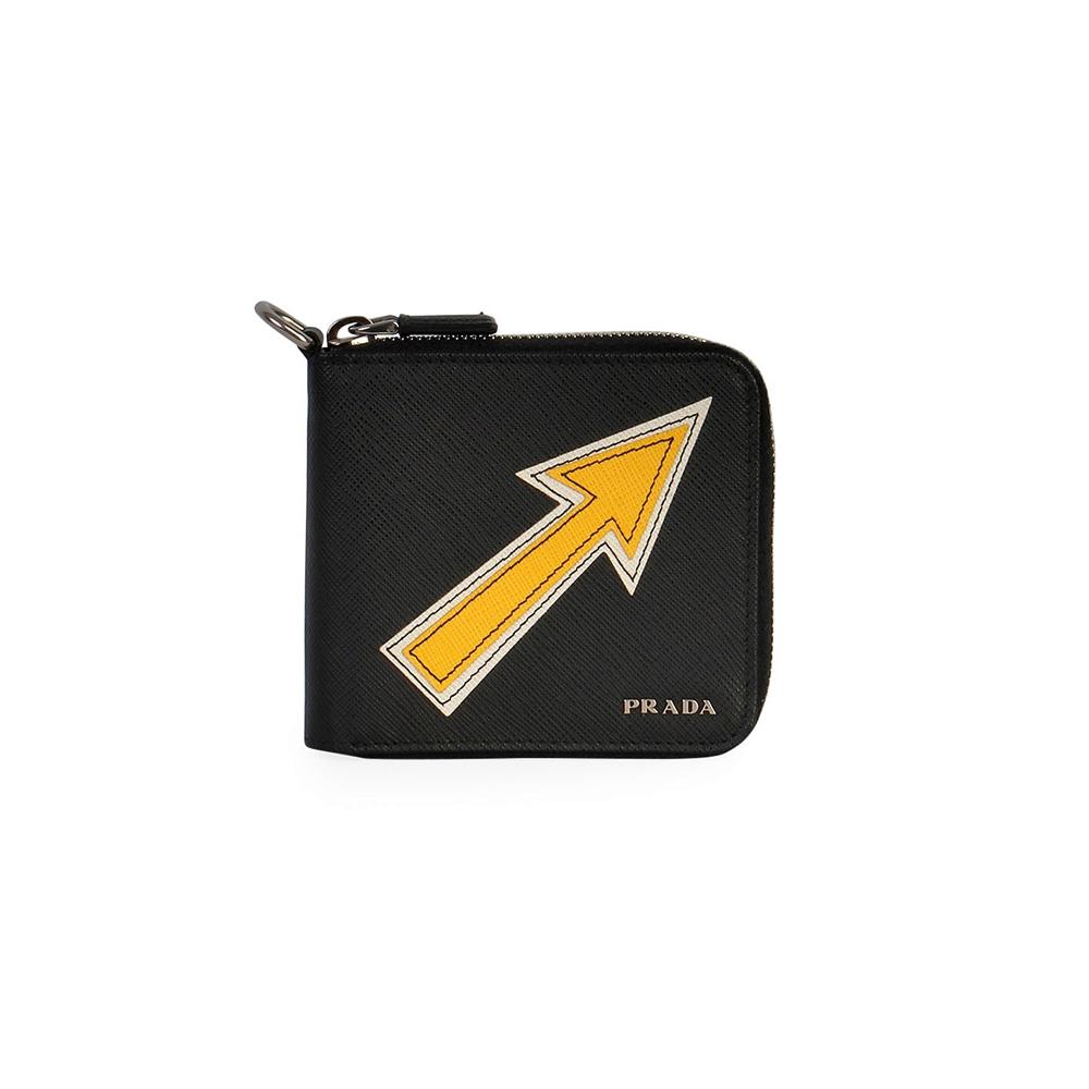 9febc13e54 PRADA Saffiano Arrow Compact Wallet Black