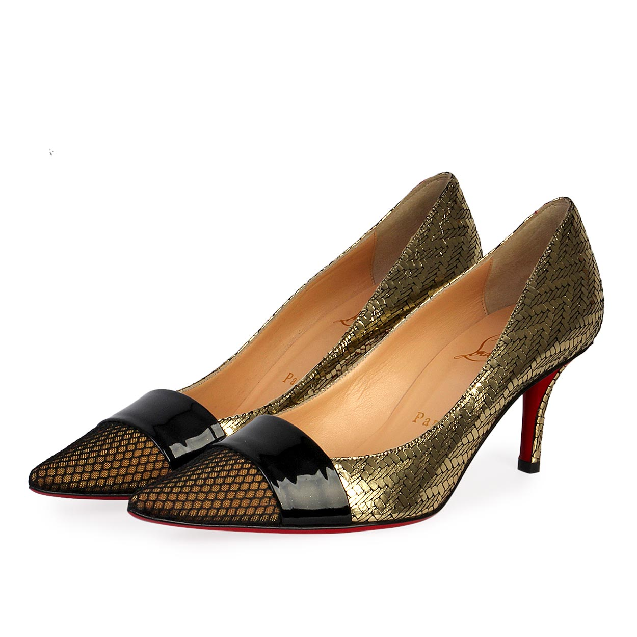 sale retailer aac6e 0edf2 CHRISTIAN LOUBOUTIN Mesh Pointy Toe Pumps Gold/Black - S: 37.5 (4.5)