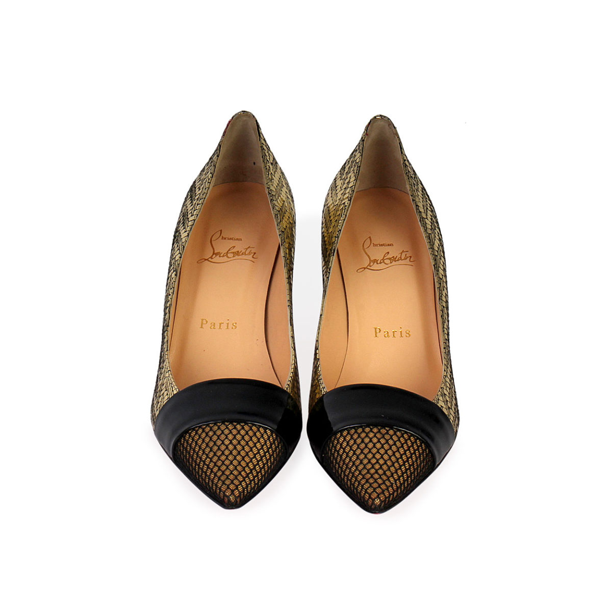 sale retailer 079b5 26ea6 CHRISTIAN LOUBOUTIN Mesh Pointy Toe Pumps Gold/Black - S: 37.5 (4.5)