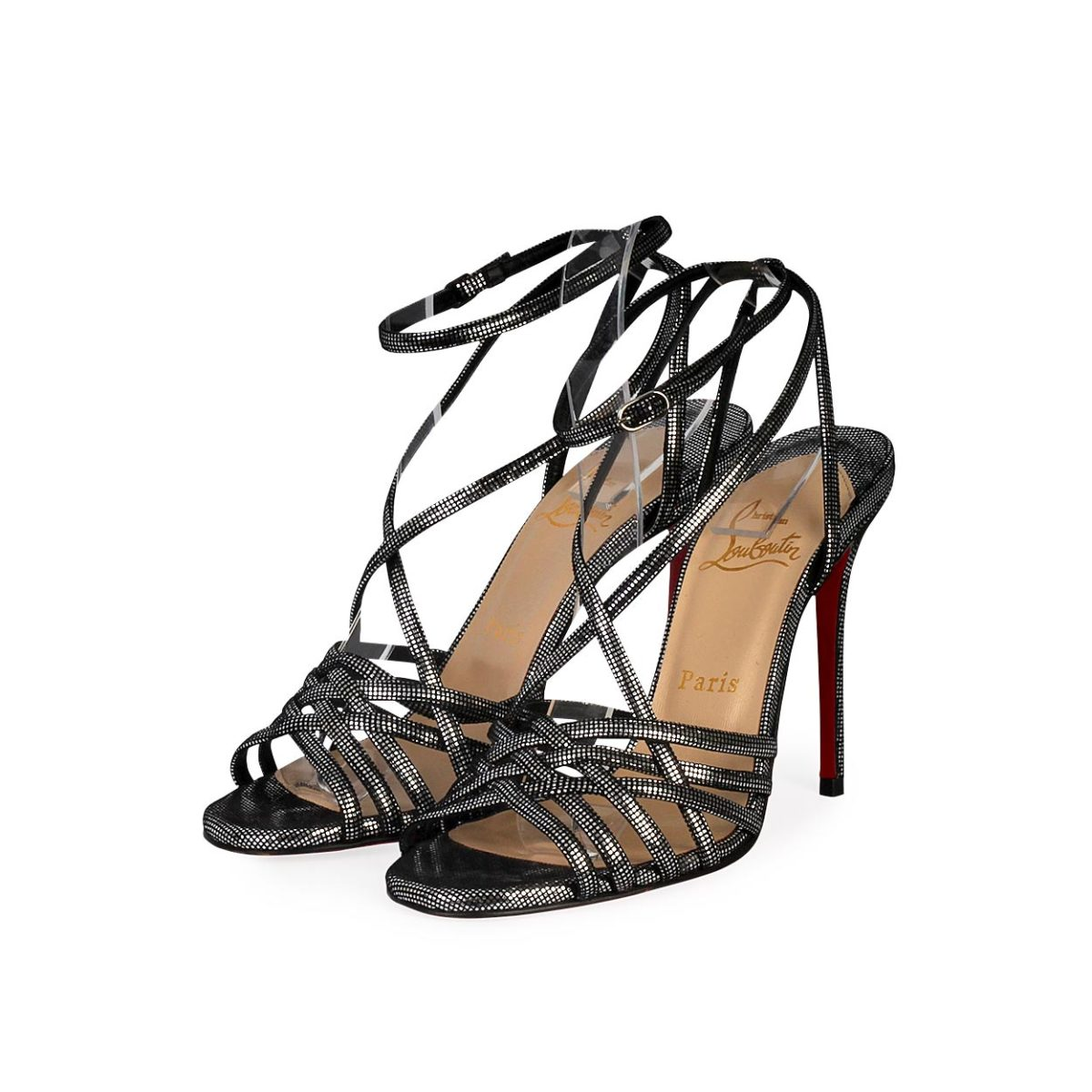 size 40 2c48c 1a954 CHRISTIAN LOUBOUTIN Metallic Leather Beverly Sandals Black/Silver - S: 37.5  (4.5)