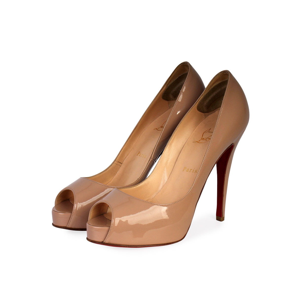 652ee8e0f83 CHRISTIAN LOUBOUTIN Patent Leather Very Prive Peep Toe Pumps Nude - S: 39  (6)