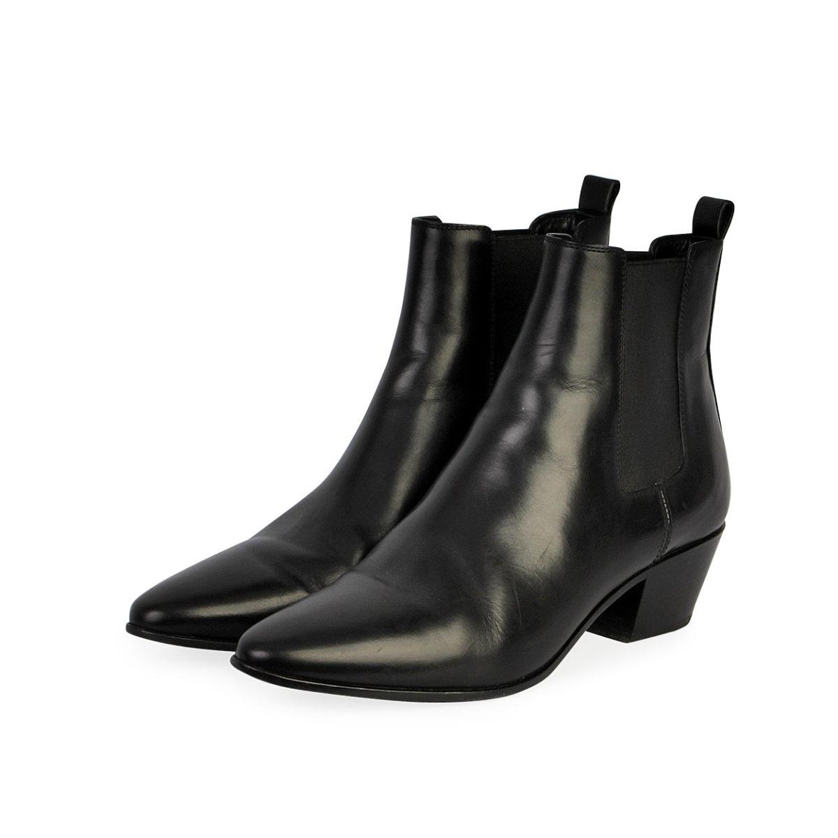 YVES SAINT LAURENT Leather Chelsea Ankle Boots Black , S 39.5 (6.5)