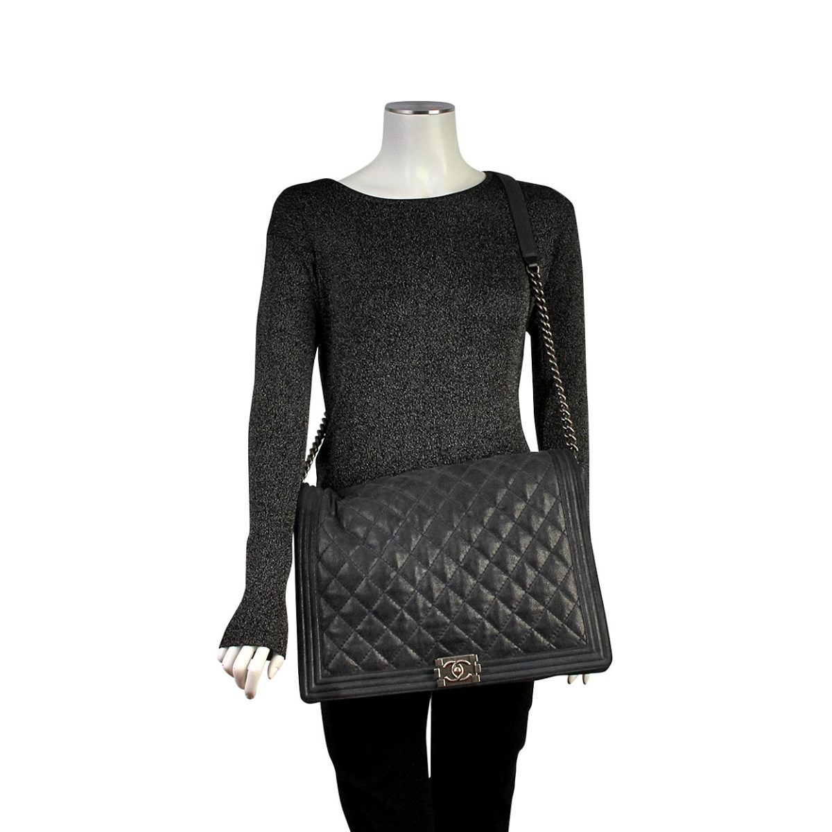 Chanel Quilted Iridescent Suede Large