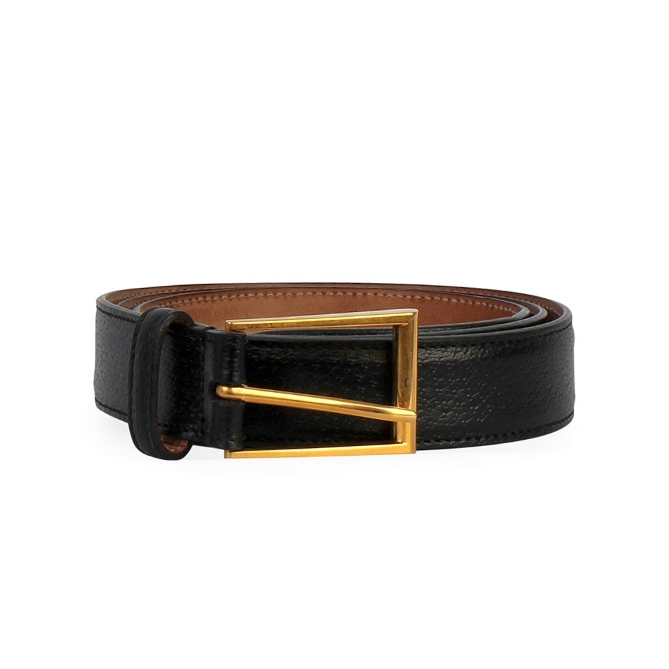 GUCCI Leather Gold Buckle Belt Black , S 95 (38)