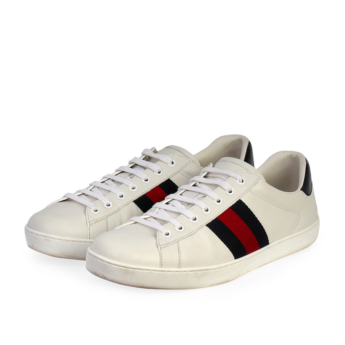 GUCCI Leather Web Ace Sneakers White