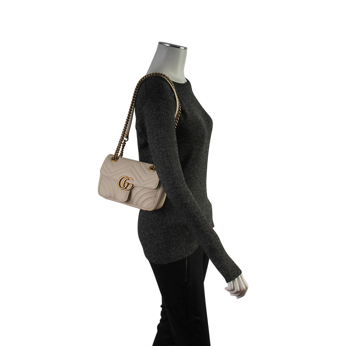 Gucci Black GG Marmont Small Matelasse Shoulder Bag