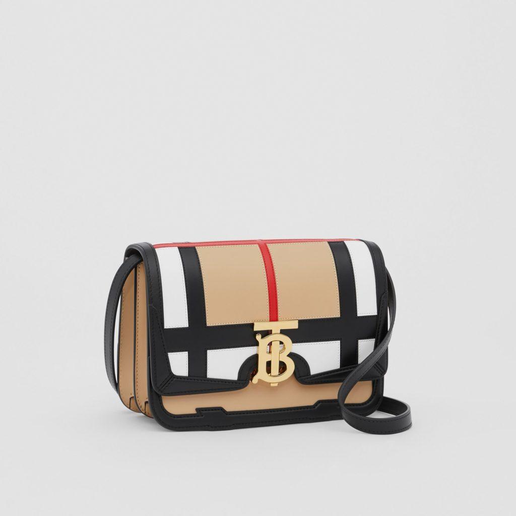 Leather TB handbag