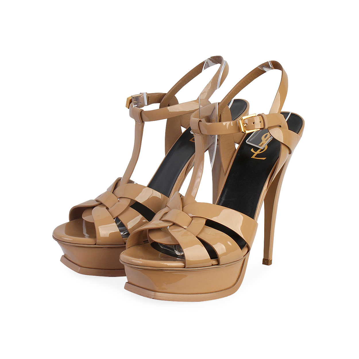 Yves Saint Laurent Nude Patent Leather Bali Flat Sandals