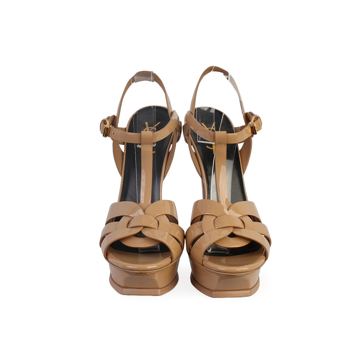 YVES SAINT LAURENT Patent Tribute 75 Platform Sandals 39