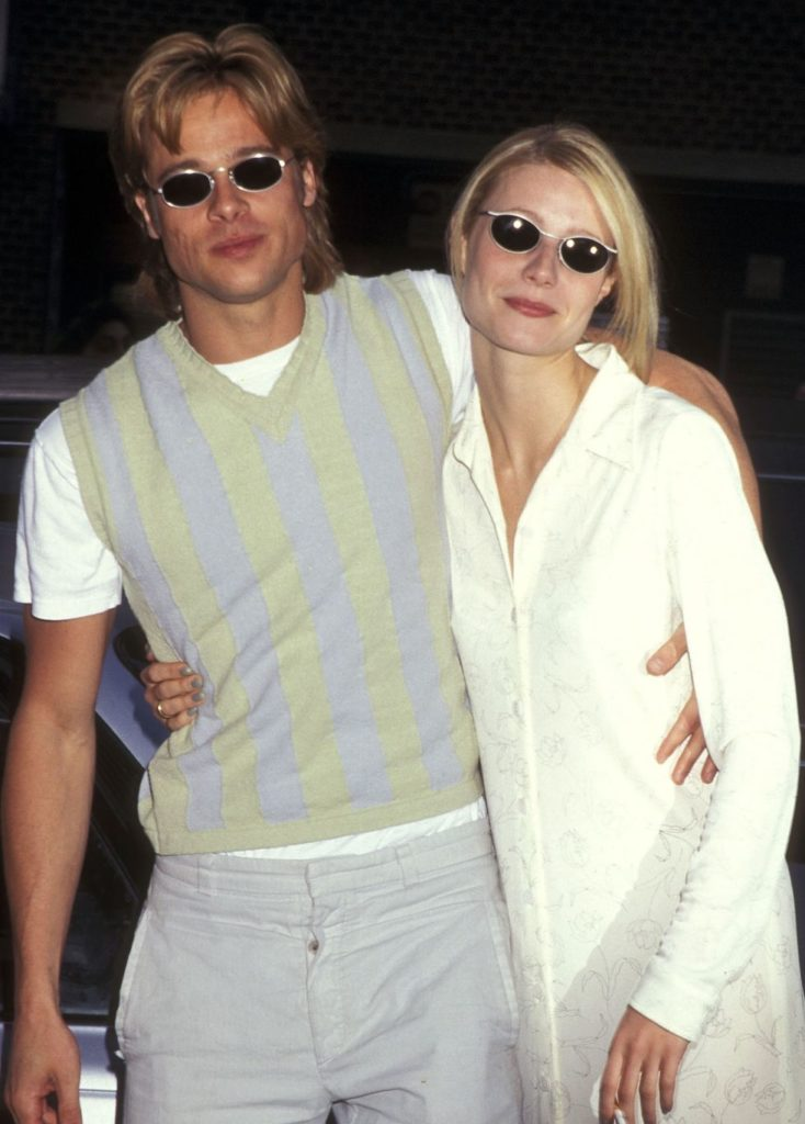 Brad Pitt & Gwyneth Paltrow wearing oval sunglasses