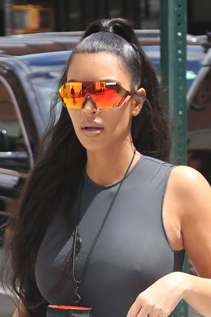Kim Kardashian wearing oversized sunglasses