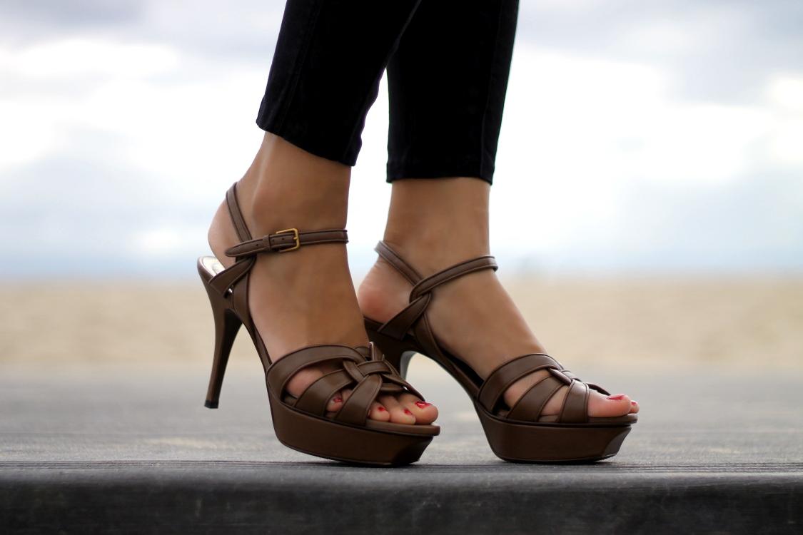 Brown YSL high heels