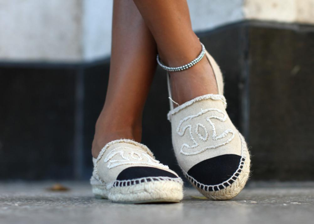 Beige & Black Chanel Shoes